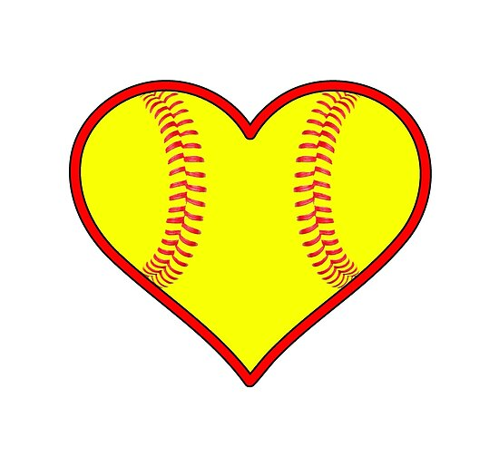 """""""Yellow Fastpitch Softball Heart"""" Posters By"""