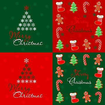 Merry Christmas Patchwork in Winter Green and Red by LarkDesigns