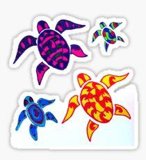 Colorful Sea Turtle Family Sticker