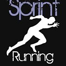 Sprint running silhouette on white by MegaSitioDesign