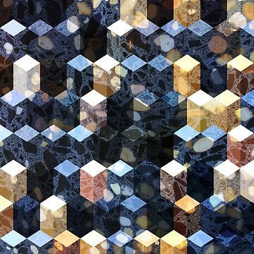 Art Deco Terrazzo Cube Pattern #abstractart #pattern by Dominiquevari