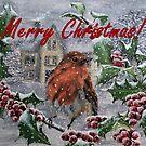 Merry Christmas Robin Card by EuniceWilkie