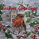 Seasons Greetings Robin Christmas Card by EuniceWilkie