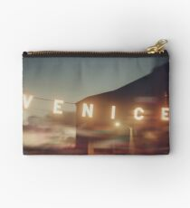 Venice Beach, vintage, oceanside, people,  beach photography, California photography Studio Pouch