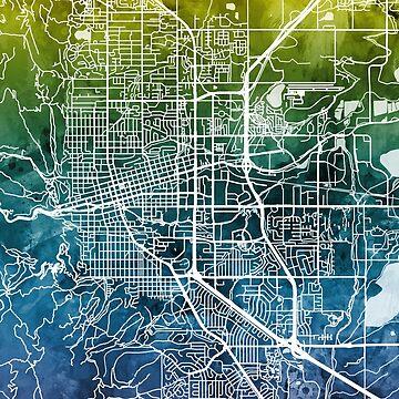 Boulder Colorado City Map by ArtPrints
