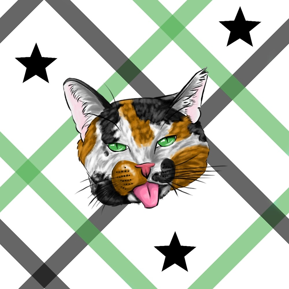 Calico Cat Face Plaid by SonneFaunArt