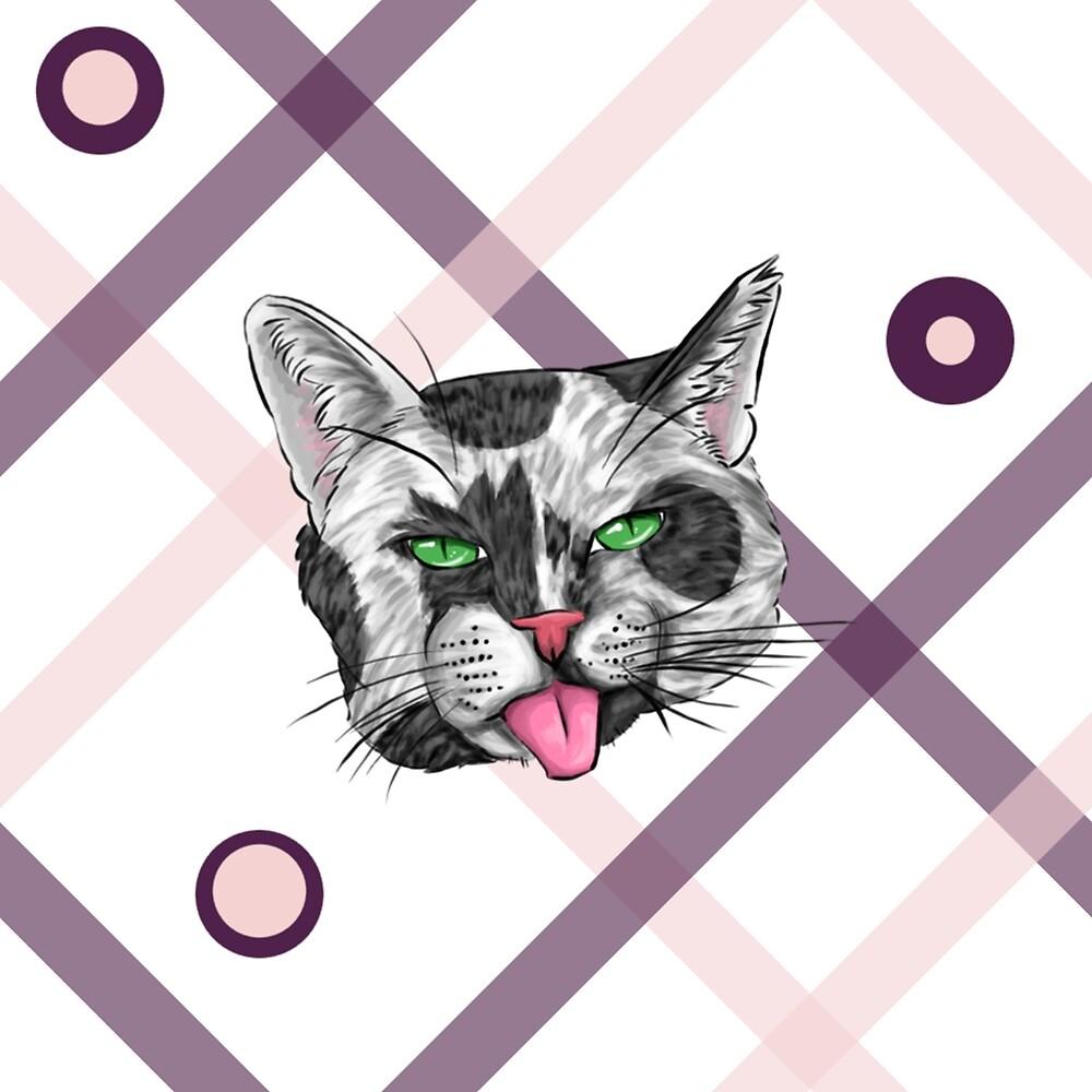 Black & White Cat Face Plaid by SonneFaunArt