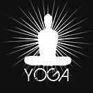 Black and white silhouette of a woman doing yoga by MegaSitioDesign