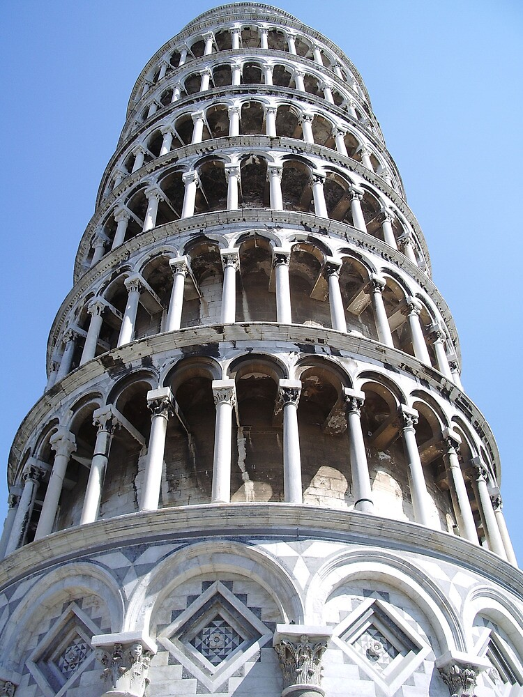 Standing at the bottom, Tower of Pisa by Lael Woodham