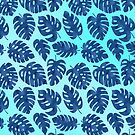 Tropical Monstera Leaves Pattern in Blue by blueskywhimsy