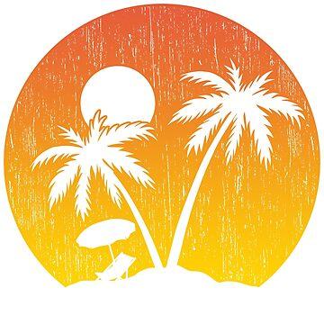 Sunset beach palms gift summer by tamerch