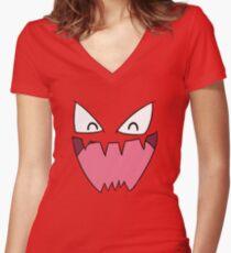 Haunter Face Women's Fitted V-Neck T-Shirt