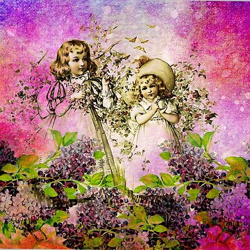 SISTERS COLLECTING FLOWERS by Tammera