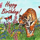 Birthday Card - Tiger in a Perfect World by EuniceWilkie