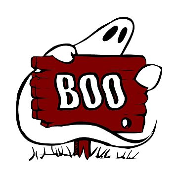 Halloween Ghost Is Wrapped Around A Sign That Says BOO by GrandmaMarilyn
