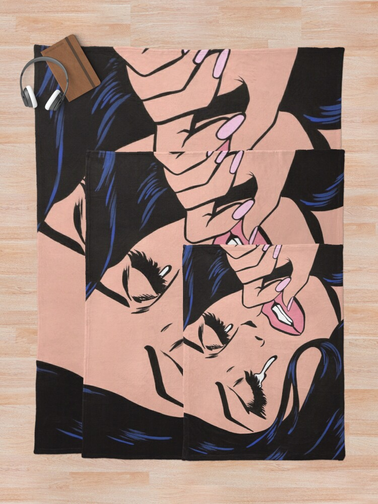 Alternate view of Black Hair Crying Comic Girl Throw Blanket