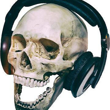 Skeleton skull with Headphones DJ Music by portokalis