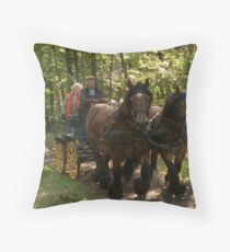 Full speed ride with draft horses and carriage  Throw Pillow