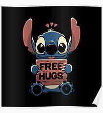 Free Hugs Stitch Poster