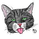 Grey Tabby Cat Face by SonneFaunArt