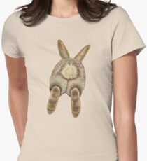 Bunny Butt, Ivory Back Ground Women's Fitted T-Shirt