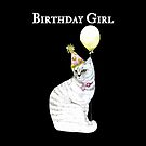 Birthday Girl With A Cat Wearing A Hat 2 by Marilyn Southmayd
