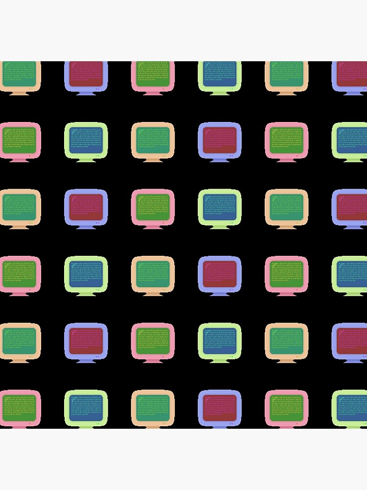Pixel Art Vintage Computer Screens Colorful Pattern by mossyodds
