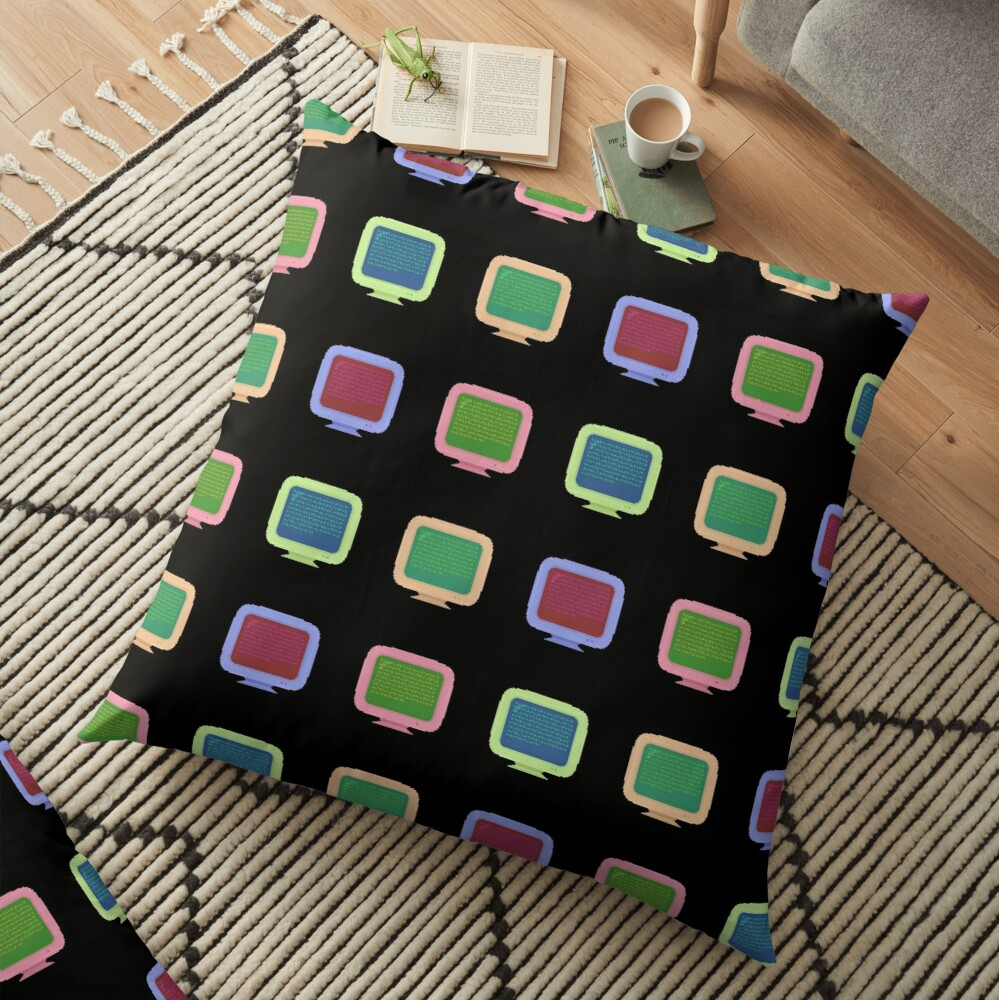 Pixel Art Vintage Computer Screens Colorful Pattern Floor Pillow
