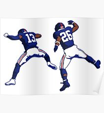Odell Beckham Jr and Saquon Barkley Cartoon Poster