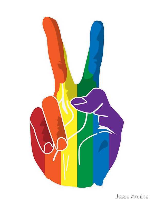 Sign Of Peace Rainbow Hand Stickers By Jesse Armine Redbubble