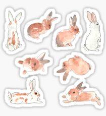 Bunny Rabbit Watercolor Stickers Sticker
