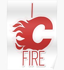 """I See Fire """"C"""" of Red - white variant Poster"""
