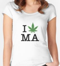 I [weed] Massachusetts Women's Fitted Scoop T-Shirt