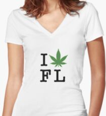 I [weed] Florida Women's Fitted V-Neck T-Shirt