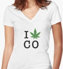 I [weed] Colorado Women's Fitted V-Neck T-Shirt