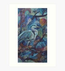 grey heron  Art Print