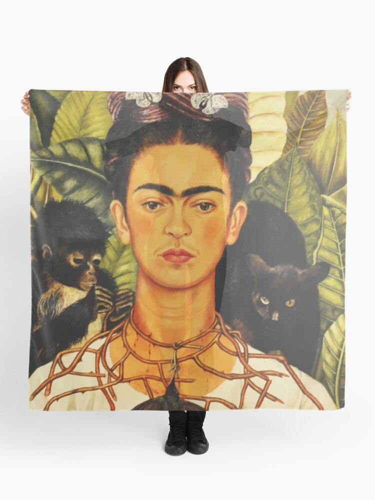 Nouvelles Arrivées recherche de véritables meilleures baskets Frida Kahlo Autoportrait au collier d'épines et à l'art naïf du colibri  Peinture | Foulard