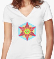 Abstract Star Design with Native American Hope Symbol Women's Fitted V-Neck T-Shirt