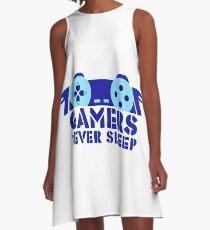 GAMERS NEVER SLEEP A-Line Dress