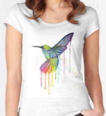 Hummingbird Watercolor Rainbow Women's Fitted Scoop T-Shirt