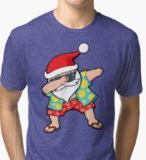 Hawaiian Dabbing Santa Tri-blend T-Shirt