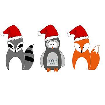 Cute Christmas Fox Penguin Raccoon Santa Hat by Discofunkster