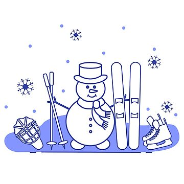 Snowman with ski and hockey equipment. by aquamarine-p