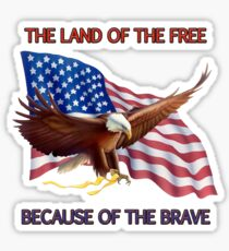 THE LAND OF THE FREE BECAUSE OF THE BRAVE Sticker