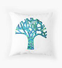 Turquoise Tree of Celebration Throw Pillow