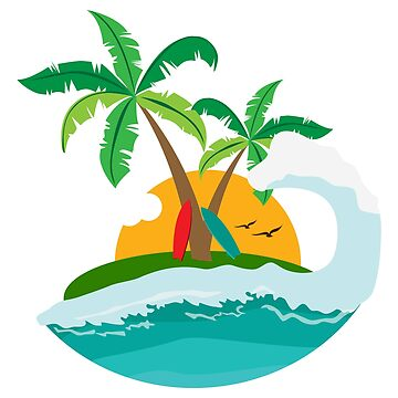 Surf - Sunset Beach Palm and Wave - Gift Idea by vicoli-shirts