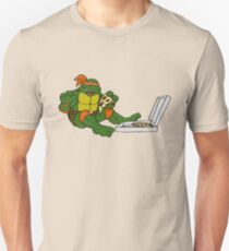 TMNT - Michelangelo with Pizza Slim Fit T-Shirt