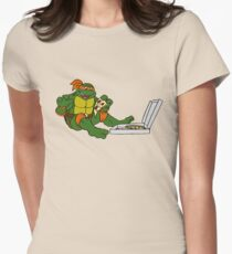 TMNT - Michelangelo with Pizza Womens Fitted T-Shirt