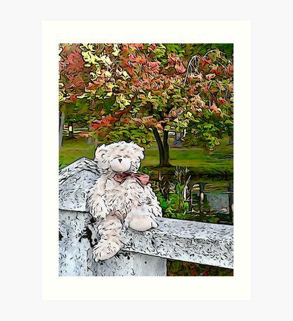 Teddy Bear by the Pond in Autumn Art Print