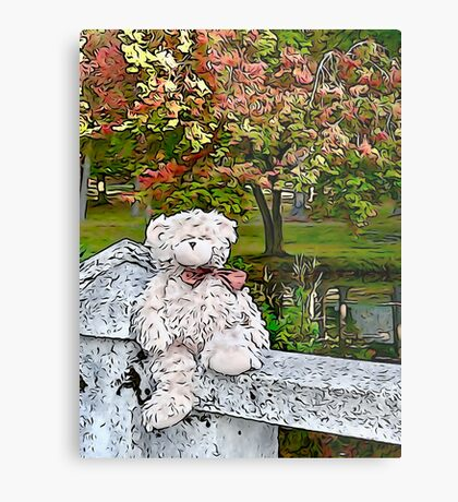 Teddy Bear by the Pond in Autumn Metal Print
